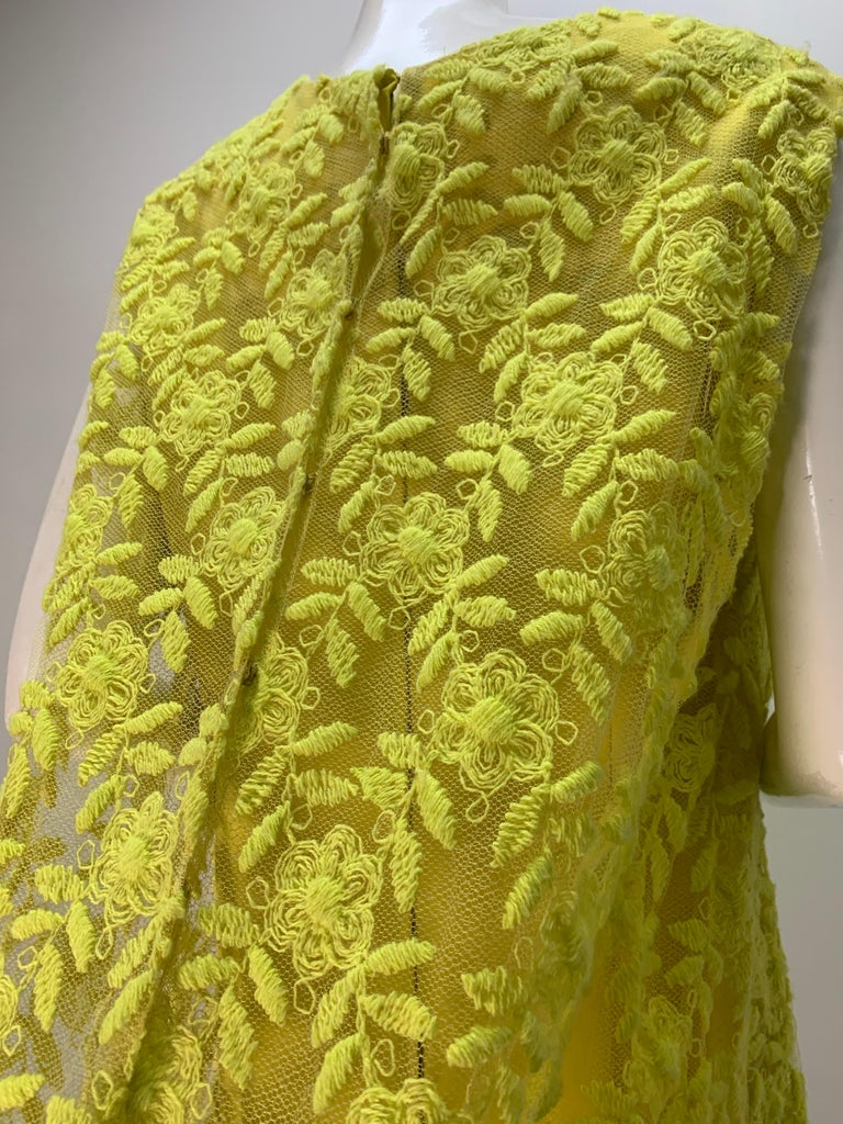1960s Mr. Blackwell Neon Yellow Wide A-Line Swing Dress in Embroidered Tulle For Sale 2