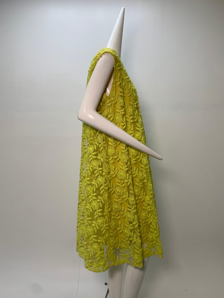 1960s Mr. Blackwell Neon Yellow Wide A-Line Swing Dress in Embroidered Tulle For Sale 3