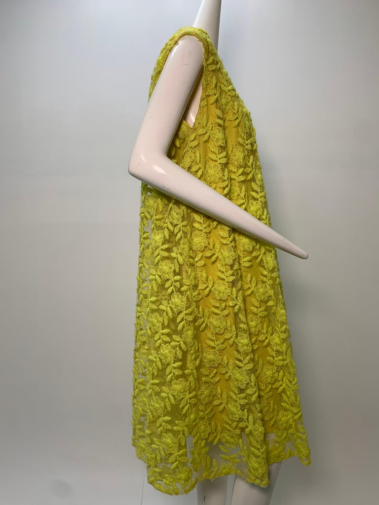 1960s Mr. Blackwell Neon Yellow Wide A-Line Swing Dress in Embroidered Tulle For Sale 4