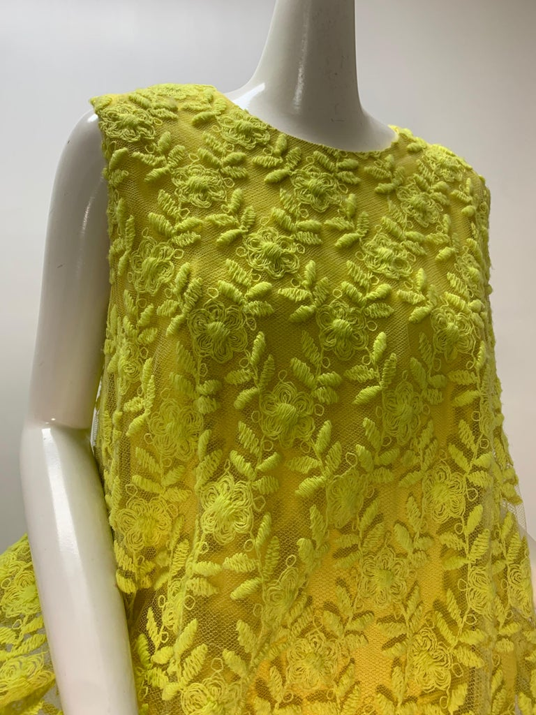 1960s Mr. Blackwell Neon Yellow Wide A-Line Swing Dress in Embroidered Tulle For Sale 5