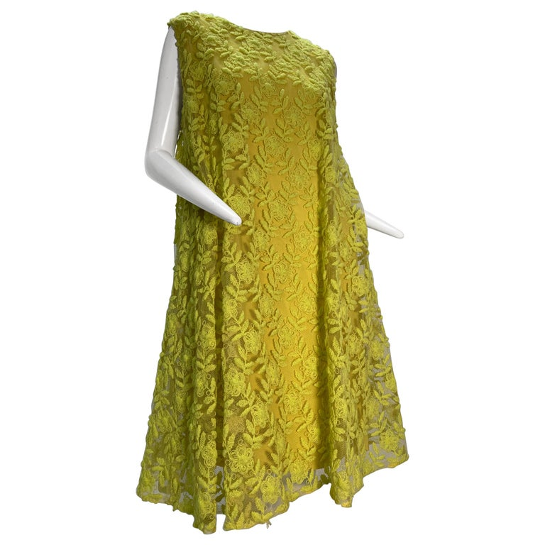 1960s Mr. Blackwell Neon Yellow Wide A-Line Swing Dress in Embroidered Tulle For Sale