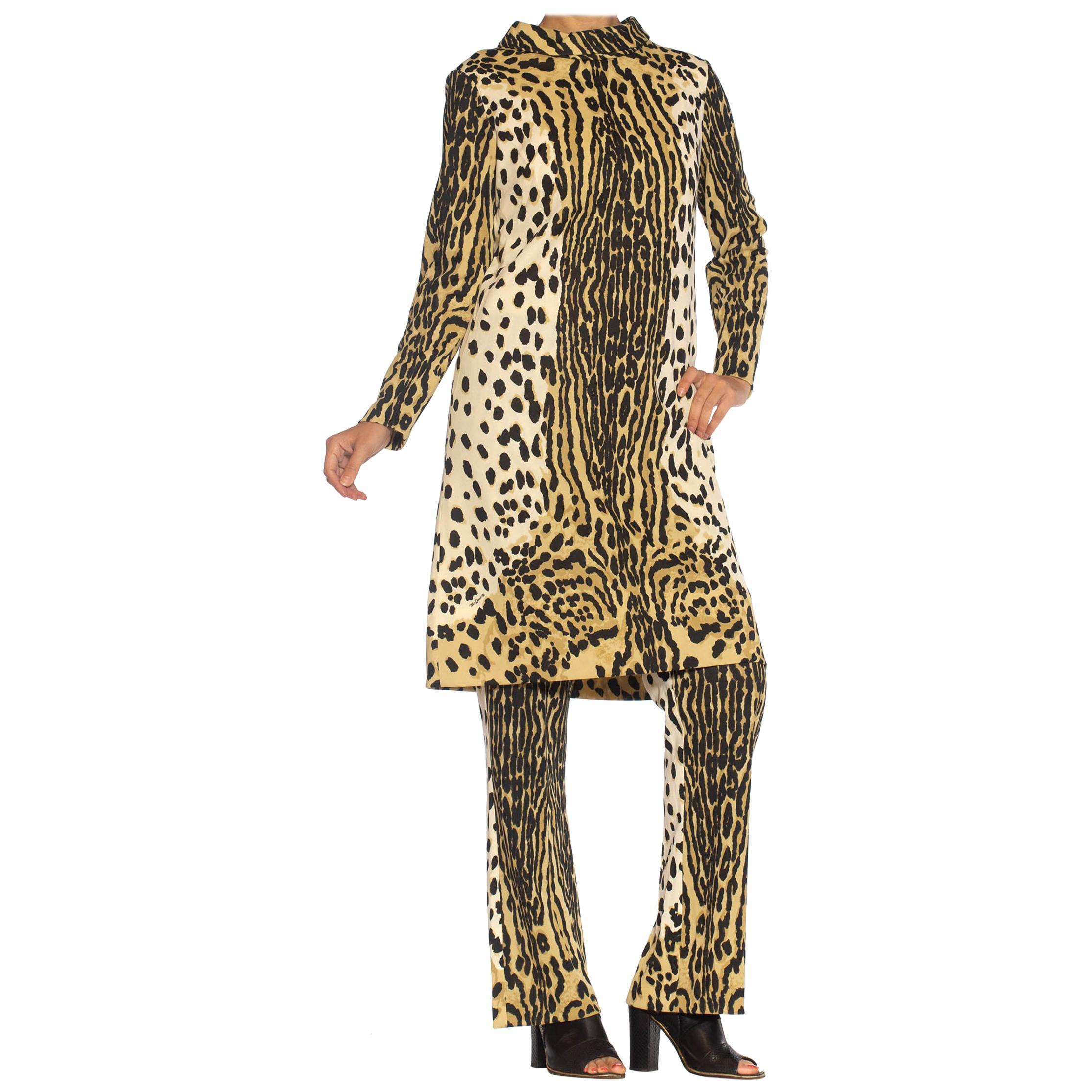 1960S MR. DINO Leopard Print Polyester Knit Tunic & Pants Ensemble