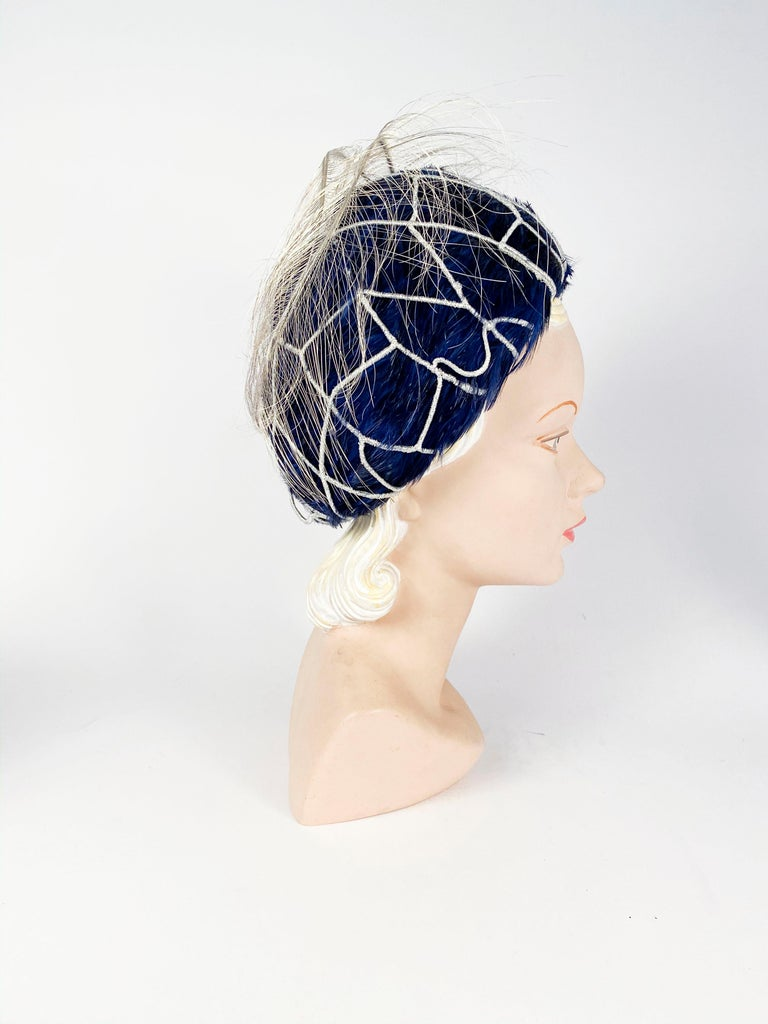 1960s Mr. John Blue Feather Hat with Silver Net  In Good Condition For Sale In San Francisco, CA