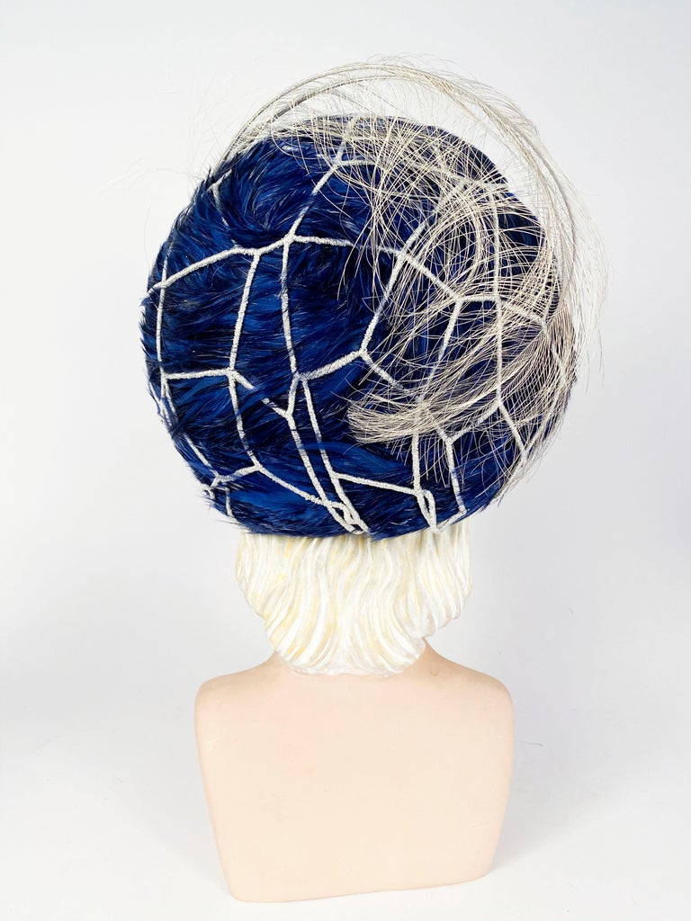 Women's 1960s Mr. John Blue Feather Hat with Silver Net  For Sale