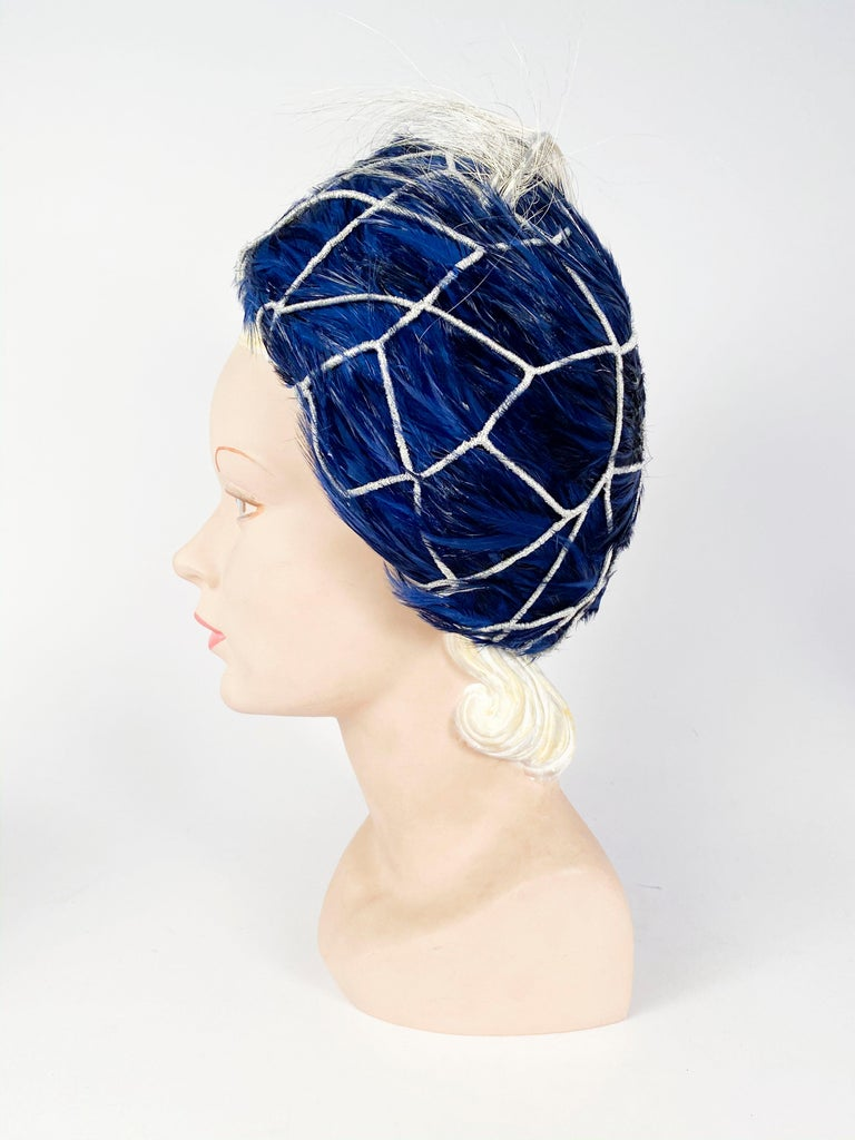 1960s Mr. John Blue Feather Hat with Silver Net  For Sale 1