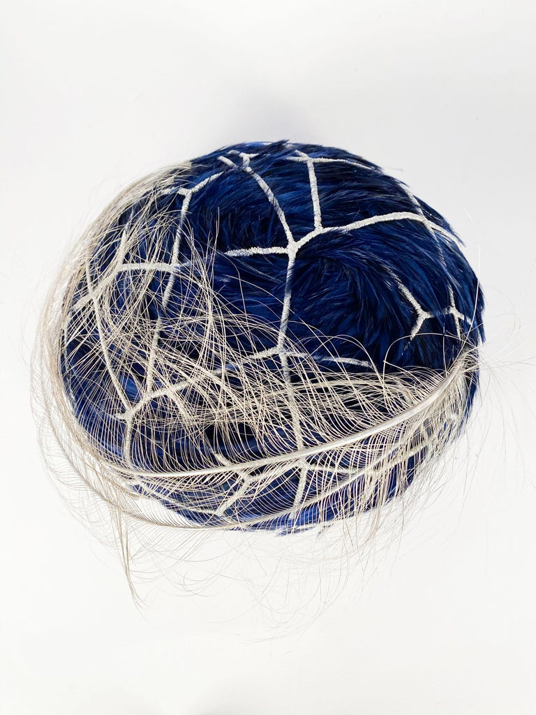 1960s Mr. John Blue Feather Hat with Silver Net  For Sale 2