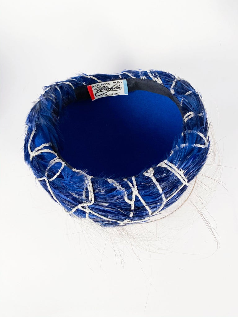 1960s Mr. John Blue Feather Hat with Silver Net  For Sale 3