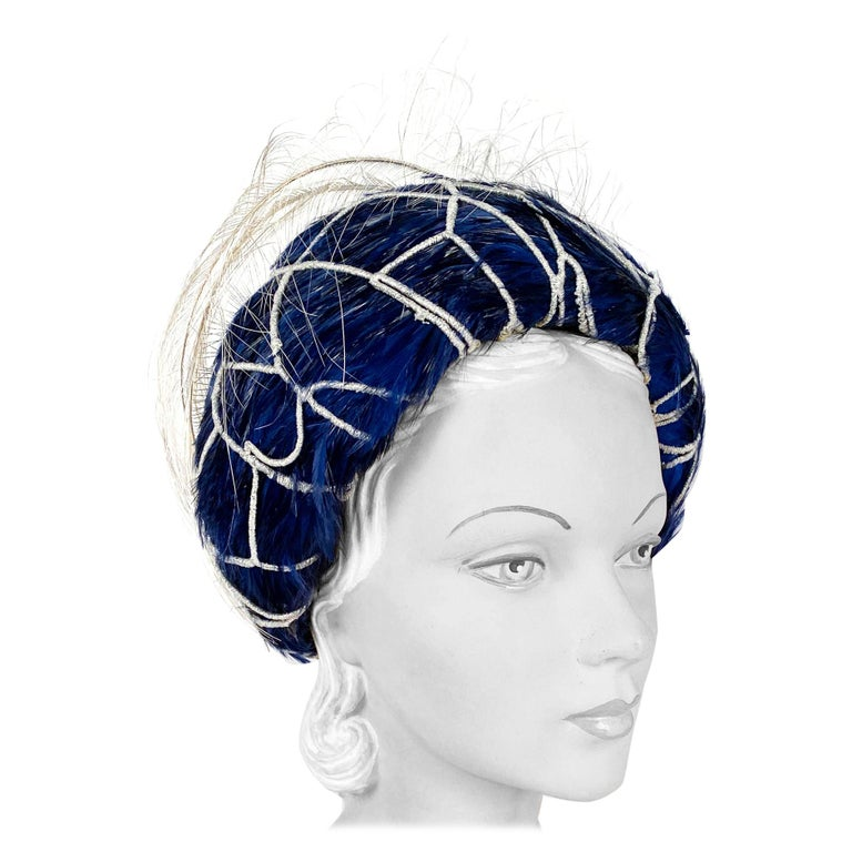 1960s Mr. John Blue Feather Hat with Silver Net  For Sale