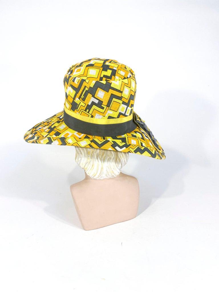 Beige 1960s Mr. John Geometric Printed Sun Hat For Sale