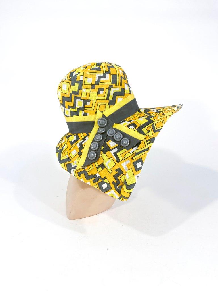 Women's or Men's 1960s Mr. John Geometric Printed Sun Hat For Sale