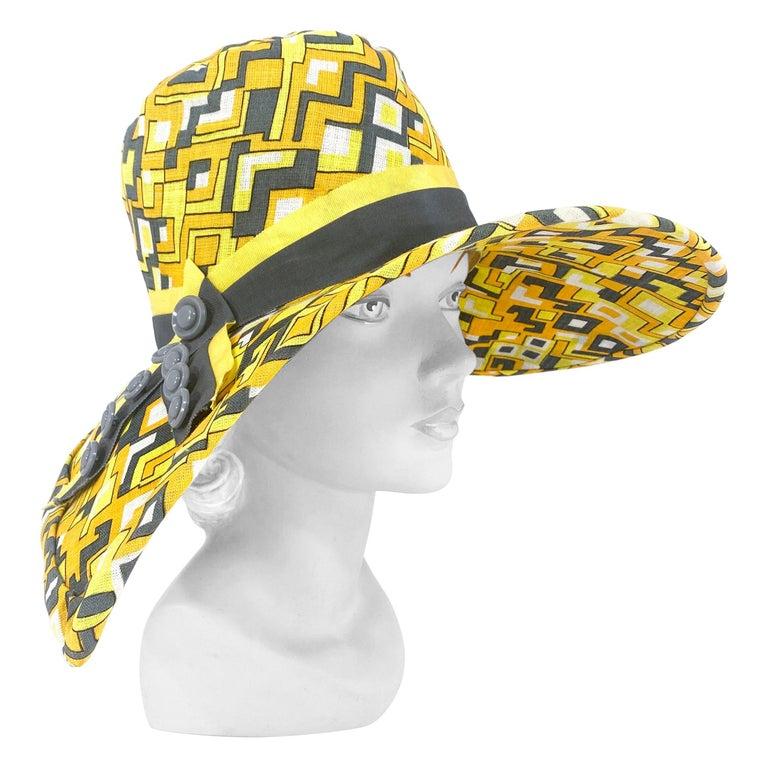 1960s Mr. John Geometric Printed Sun Hat For Sale