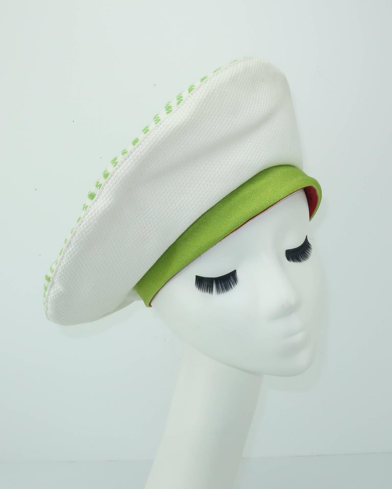 57211285ad837 1960 s Mr. John White and Green Pique Beret Hat For Sale at 1stdibs