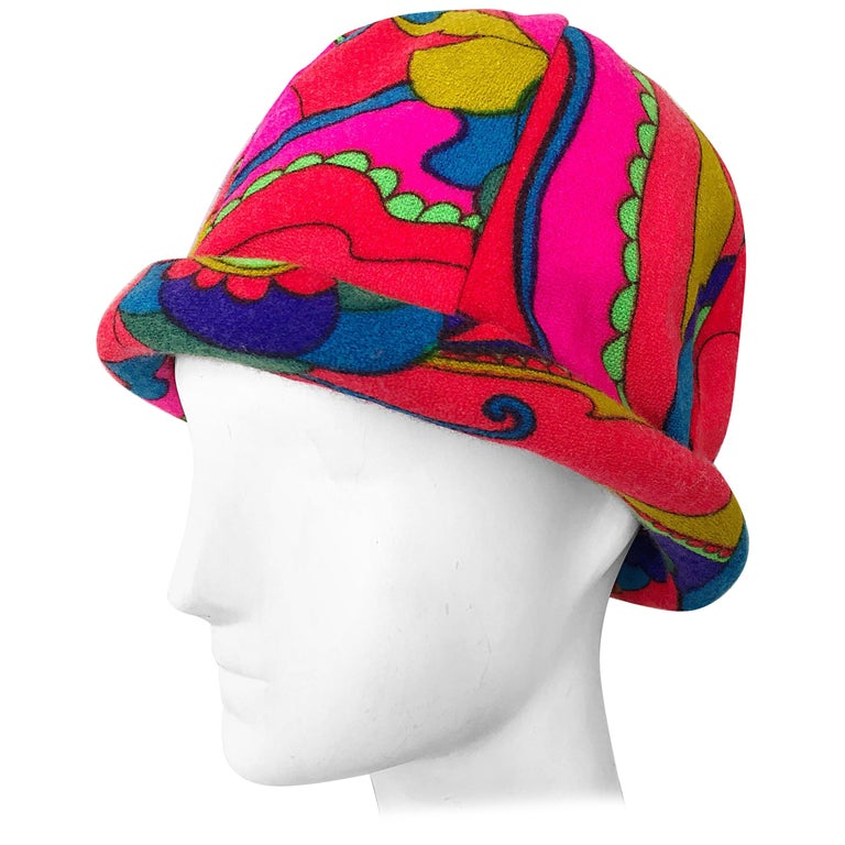 1960s Mr. Martin Retro Bright Mod Psychedelic Vintage 60s Wool Cloche Hat  For Sale