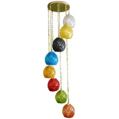 1960's Mid Century Modern Cascading 8 Color Pendant Chandelier