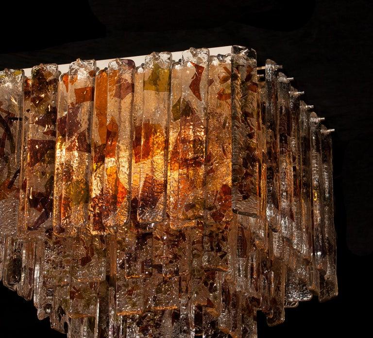 1960s, Multi-Color Italian Squared Venini Murano Crystal Ceiling Lamp by Mazzega For Sale 7