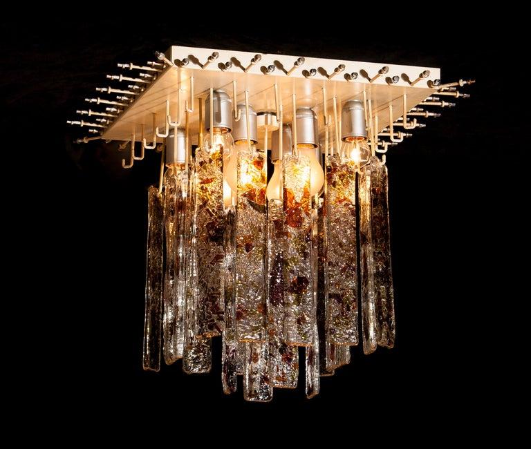 1960s, Multi-Color Italian Squared Venini Murano Crystal Ceiling Lamp by Mazzega For Sale 8