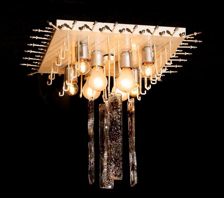 1960s, Multi-Color Italian Squared Venini Murano Crystal Ceiling Lamp by Mazzega For Sale 9