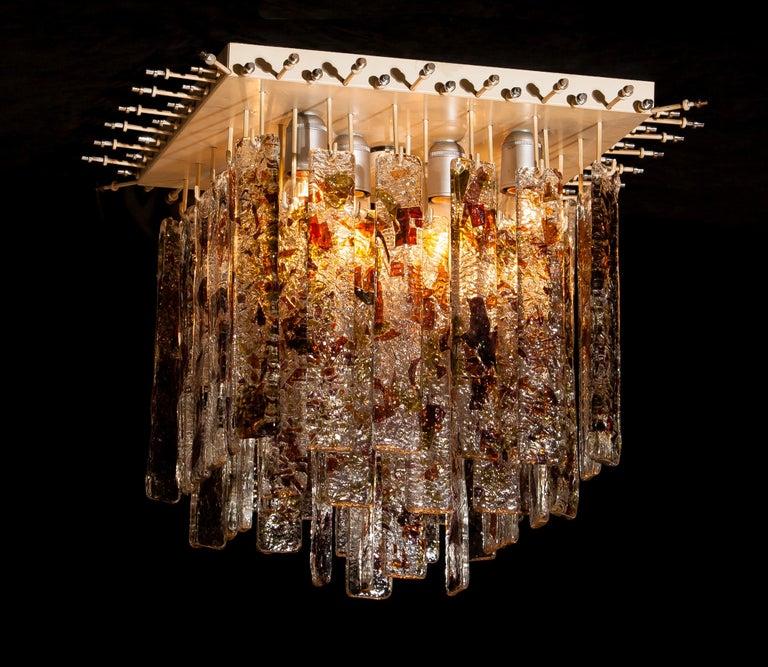 1960s, Multi-Color Italian Squared Venini Murano Crystal Ceiling Lamp by Mazzega For Sale 10