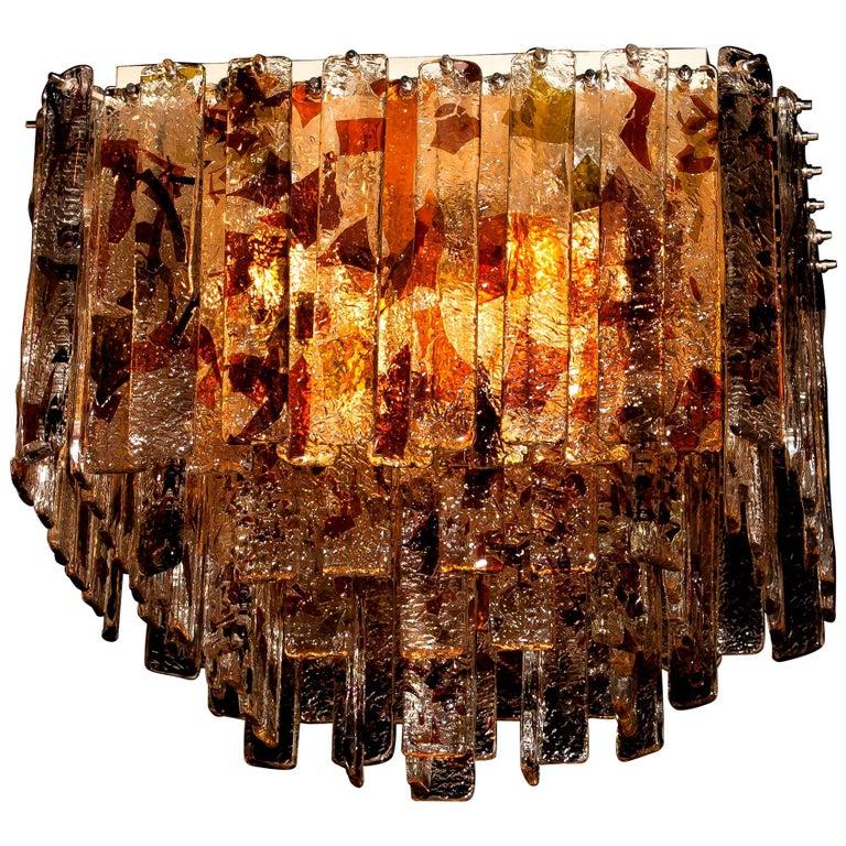 Mid-Century Modern 1960s, Multi-Color Italian Squared Venini Murano Crystal Ceiling Lamp by Mazzega