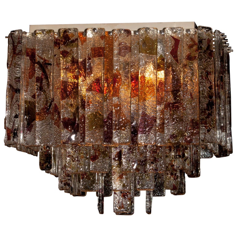 Mid-20th Century 1960s, Multi-Color Italian Squared Venini Murano Crystal Ceiling Lamp by Mazzega