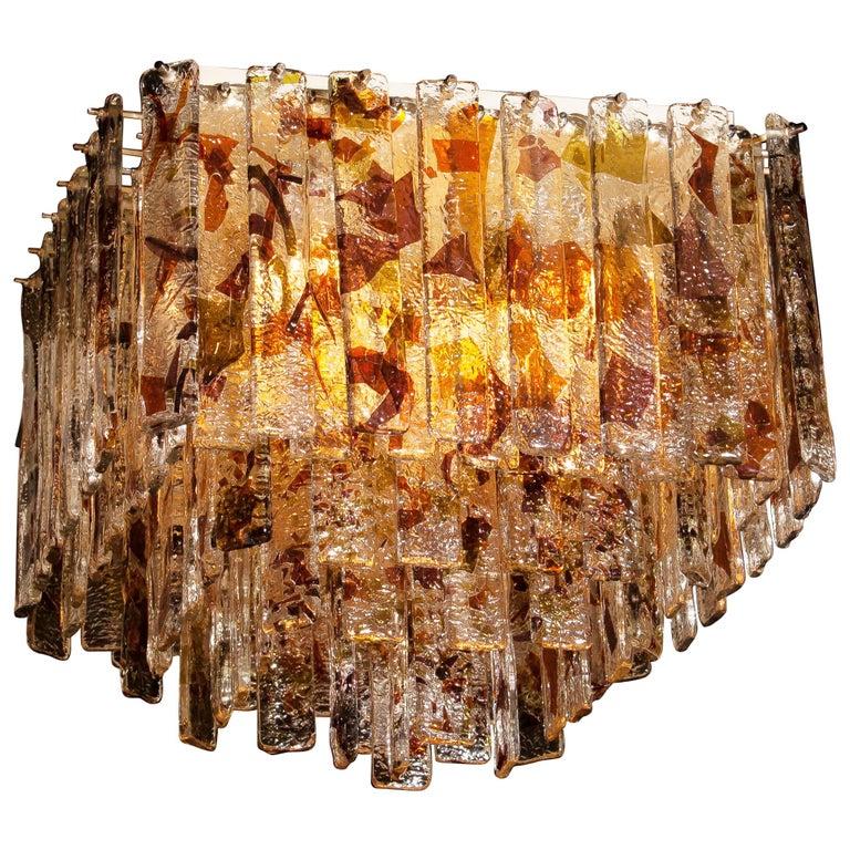 Metal 1960s, Multi-Color Italian Squared Venini Murano Crystal Ceiling Lamp by Mazzega For Sale