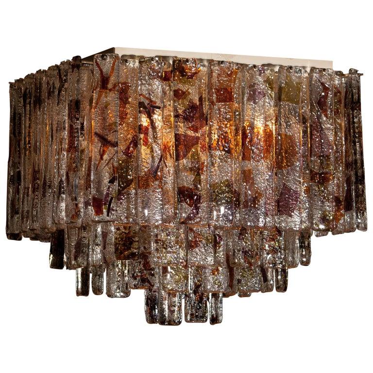 Metal 1960s, Multi-Color Italian Squared Venini Murano Crystal Ceiling Lamp by Mazzega