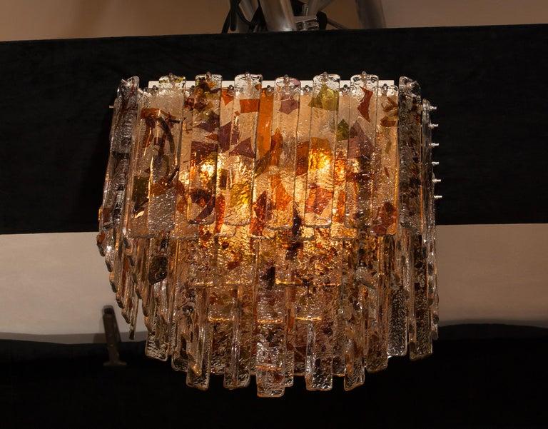 1960s, Multi-Color Italian Squared Venini Murano Crystal Ceiling Lamp by Mazzega 1