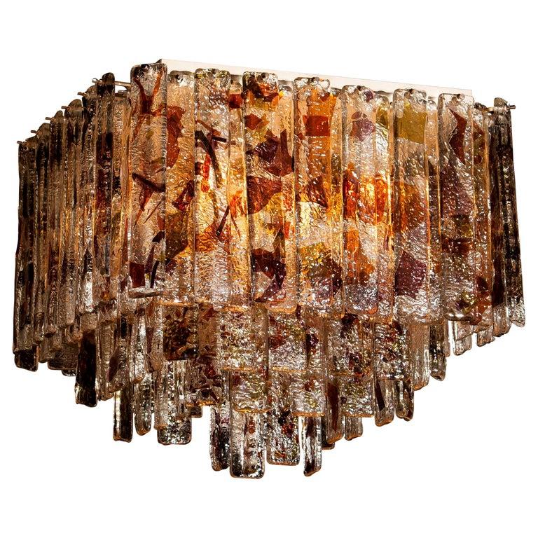 1960s, Multi-Color Italian Squared Venini Murano Crystal Ceiling Lamp by Mazzega For Sale 1