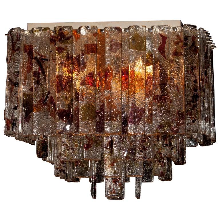 1960s, Multi-Color Italian Squared Venini Murano Crystal Ceiling Lamp by Mazzega For Sale 2