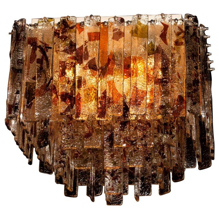 1960s, Multi-Color Italian Squared Venini Murano Crystal Ceiling Lamp by Mazzega