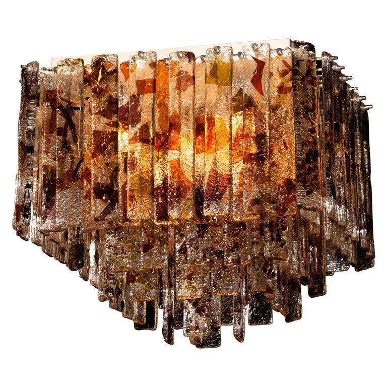 1960s, Multi-Color Italian Squared Venini Murano Crystal Ceiling Lamp by Mazzega For Sale