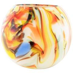 1960s Multi-Color Latticino Murano Glass Globe Vase