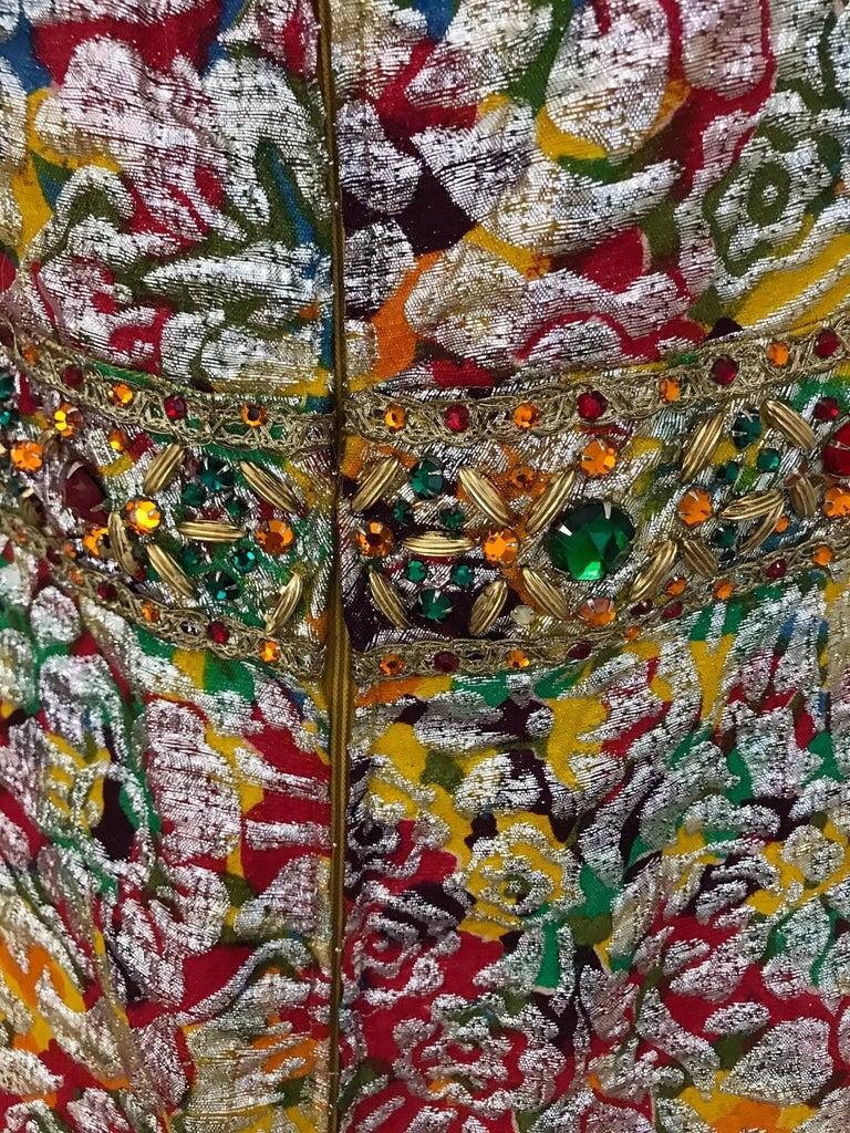 1960s Multi Color Metallic Silk Brocade Dress with Embellishment For Sale 4
