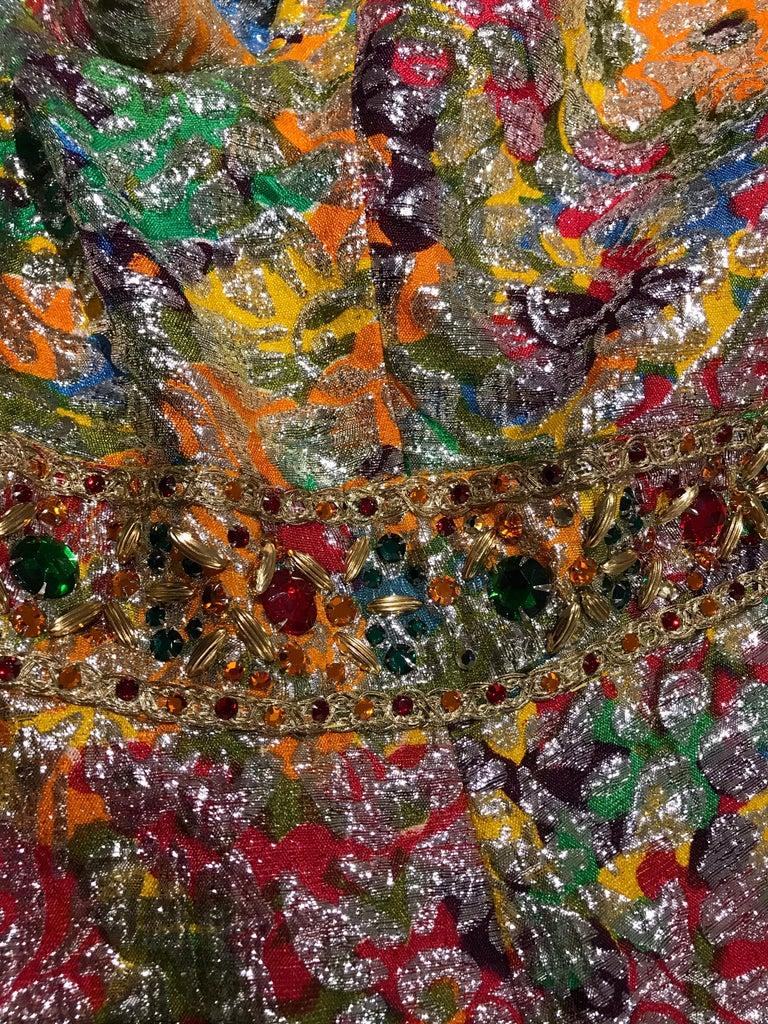 1960s Multi Color Metallic Silk Brocade Dress with Embellishment For Sale 5