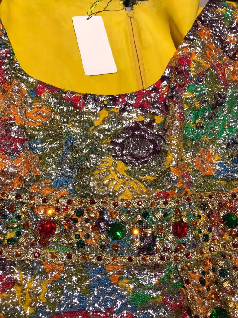1960s Multi Color Metallic Silk Brocade Dress with Embellishment For Sale 8