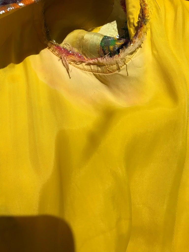 1960s Multi Color Metallic Silk Brocade Dress with Embellishment For Sale 6