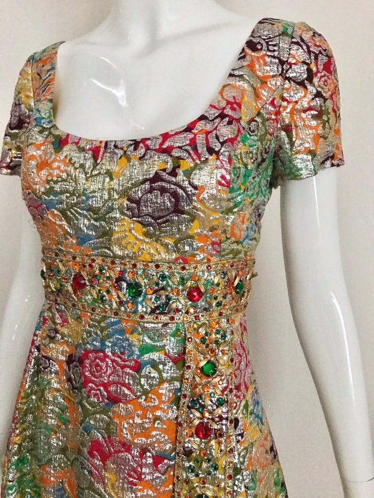 1960s Multi Color Metallic Silk Brocade Dress with Embellishment For Sale 7