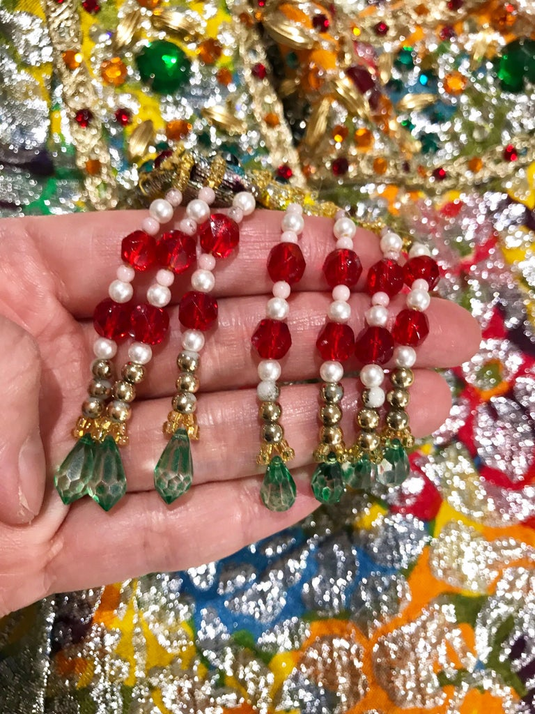 1960s Multi Color Metallic Silk Brocade Dress with Embellishment For Sale 1
