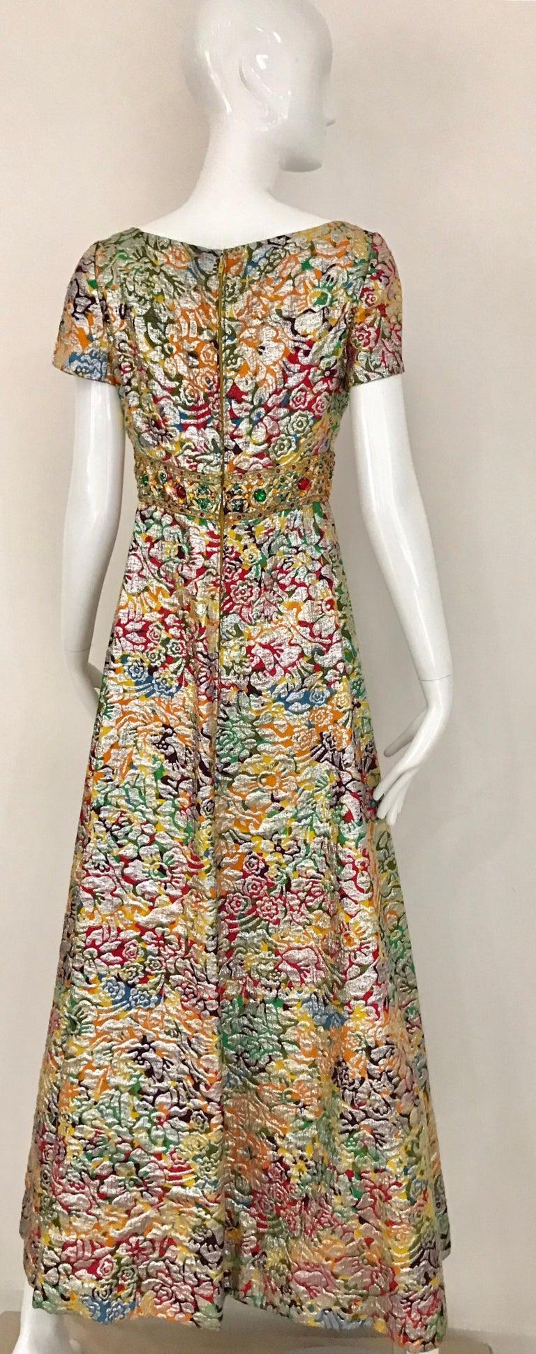 1960s Multi Color Metallic Silk Brocade Dress with Embellishment For Sale 2