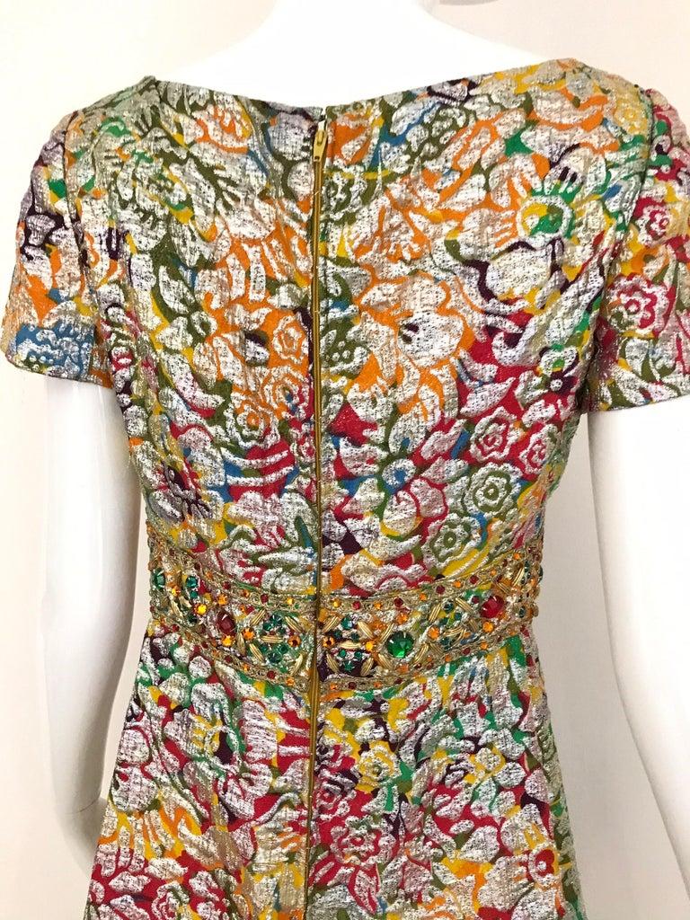 1960s Multi Color Metallic Silk Brocade Dress with Embellishment For Sale 3