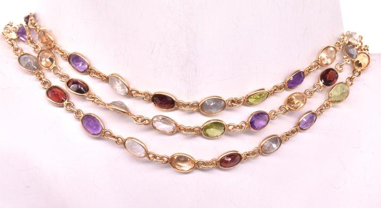 Women's 1960s Multi Gemstone Necklace