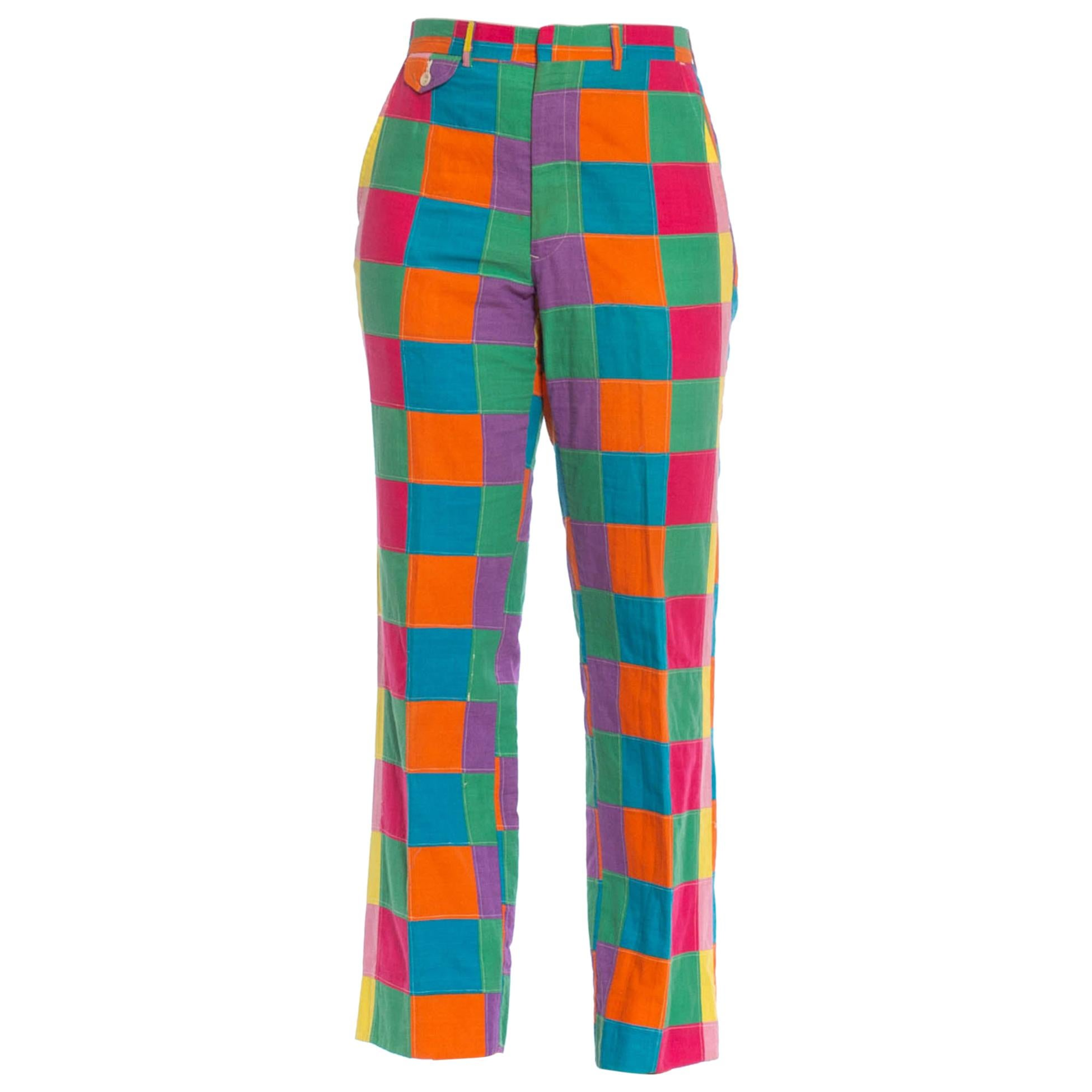 1960S Multicolor Patchwork Cotton Mens Pants In Super Bright Colors