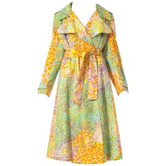 1960S Multicolor Printed Rayon Twill Wide Lapel Trench Coat