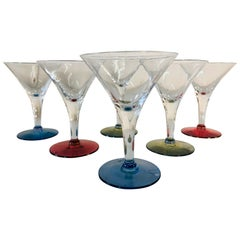1960s Multicolored Small Martini Stems, Set of 6