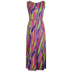 1960s Multicoloured Abstract Print Demi Couture Maxi Dress With Broad Tassel Hem