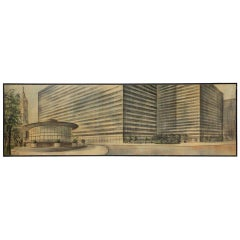 1960s Mural Sized Architectural Oil Rendering by Richard Bobby
