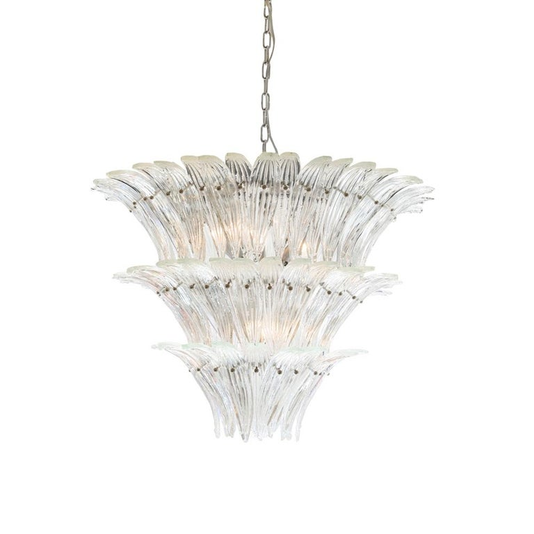Mid-Century Modern 1980s Murano Chandelier Clear Blown Glass Italian Design Barovier and Toso Style For Sale