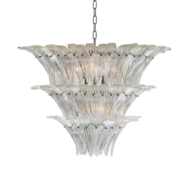 1980s Murano Chandelier Clear Blown Glass Italian Design Barovier and Toso Style In Good Condition For Sale In London, GB