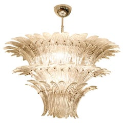 1980s Murano Chandelier Clear Blown Glass Italian Design Barovier and Toso Style