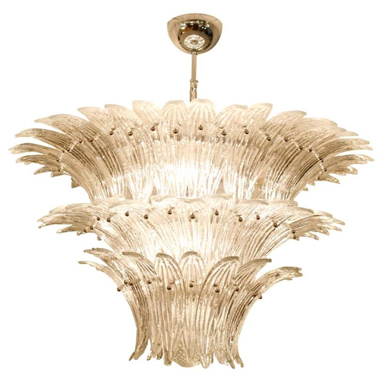 1980s Murano Chandelier Clear Blown Glass Italian Design Barovier and Toso Style For Sale